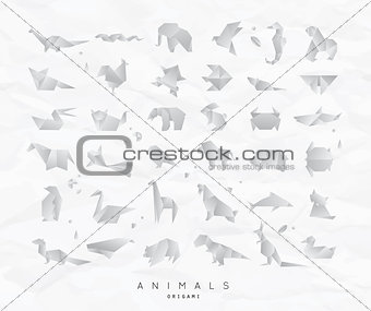 Animals origami set crumpled
