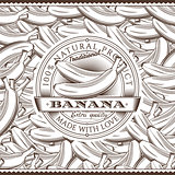 Vintage Bananas Label On Seamless Pattern