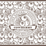 Vintage Cowberry Label On Seamless Pattern