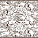 Vintage Lemon Label On Seamless Pattern