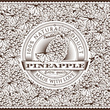 Vintage Pineapple Label On Seamless Pattern