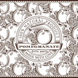 Vintage Pomegranate Label On Seamless Pattern