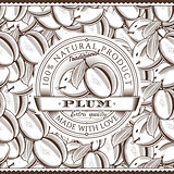 Vintage Plum Label On Seamless Pattern