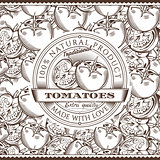 Vintage Tomatoes Label On Seamless Pattern