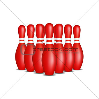 Bowling pins in red design with white stripes standing in formation