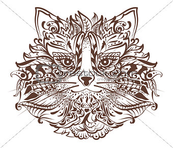 Cat head monochrome graphic drawing tattoo