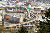 Interstate Freeway over Marquam bridge in Portland