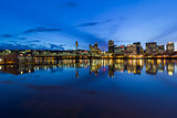 Portland City Downtown Cityscape Blue Hour