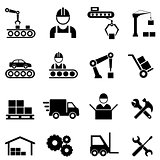 Factory and manufacturing industry icons