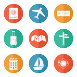 Travel icons - flat vector