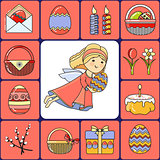 Vector illustration of set Easter icons and Angel.