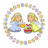 Vector Greeting card with Angel, basket, cake and eggs.