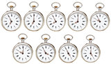 set of retro pocket watches with different time