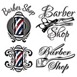 Set of retro barber shop logo. Isolated on the white background