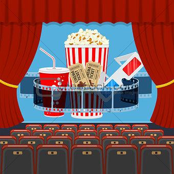 cinema auditorium with seats and popcorn