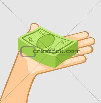 A bundle of money in hand