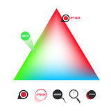 RGB color triangle and icons