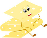 Yellow Cheese slice cartoon sad symbol