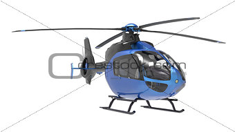 Blue helicopter isolated on the white background. 3d illustration.