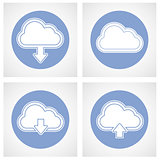 Cloud computing icon - online storage with upload and download s