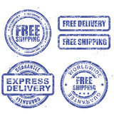 Express delivery and free worldwide shipping - blue grunge stamp