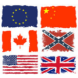 Set of shabby flags of Canada, China, Confederate army, European