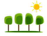 Simple Natural Nackground with Tree and Sun. Vector Illustration