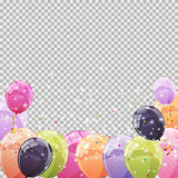 Color Glossy Balloons Transparent Background Vector Illustration