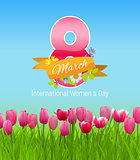 Women s Day Greeting Card 8 March Vector Illustration