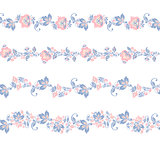 Seamless floral borders elements.. Flower set