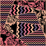 Chevron, russian floral seamless pattern vector