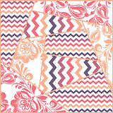 Zigzag, russian floral seamless pattern vector