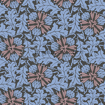 Blowball floral seamless pattern vector