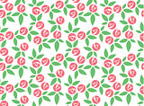 Stylized pink rose seamless pattern vector