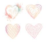 Vector set ombre doodle hearts