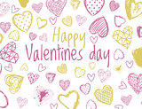 Vector valentines day background with hearts