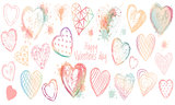 Vector valentines day set watercolor hearts