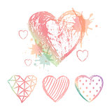 Vector Set hand drawn hearts