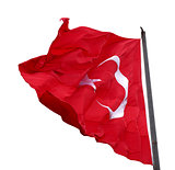 Turkish flag waving in windy day