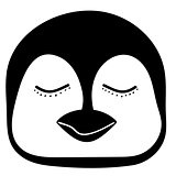 Penguin sleep Cute animal head  funny cartoon