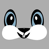 Bunny cute funny cartoon head