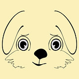 Hare cute funny cartoon head
