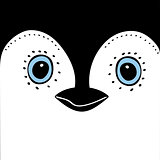 Penguin Cute animal head  funny cartoon