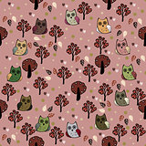 Owls forest vector seamless pattern