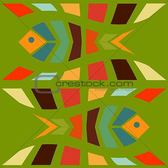 Fish mosaic seamless pattern