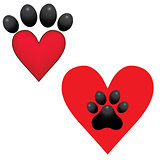 Adopt Dog Paw Heart vector animal help illustration