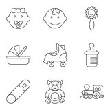 Baby related flat vector icon set