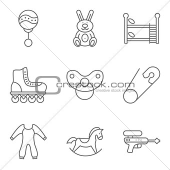 Baby related thin line vector icon set