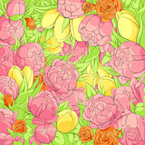 Floral peonies background