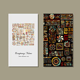 Business card design, ethnic handmade ornament